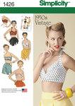Simplicity 1426. Misses Vintage 1950s Bra Tops.