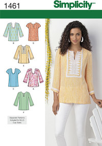 Misses and Plus Tunic with Neckline and Sleeve Variations. Simplicity 1461.