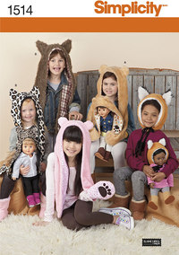 Child´s and 18 inches Doll Animal Hats. Simplicity 1514.