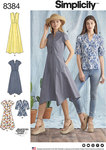 Shirt dress in a variety of lengths and hemlines plus cut line to make a top. All have collarless rounded neckline with 3 buttons at bodice front and can be made sleeveless or with short sleeves. Dress features a handkerchief hem in knee and midcalf lengt.