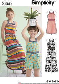 Halter Dress or Romper Each in Two Lengths for girls. Simplicity 8395.
