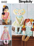 Simplicity 8402. 23 inch Stuffed Dolls With Clothes.