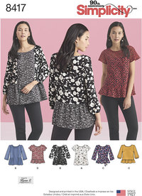 Pullover Tops with Sleeve and Fabric Variations. Simplicity 8417.