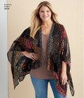 Easy to sew kimono style wrap with length and trim variations including asymmetric hemline with optional trim on front, high-low hemline with more length in back and short cropped style with fringe trim at hem, Perfectly paired with velvet or sheer fabric