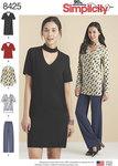 Simplicity 8425. Choker Collar Dress, Tunic and Top with Pants.
