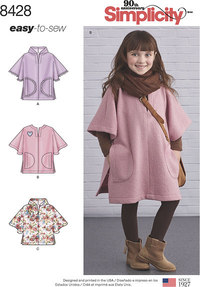Poncho in Two Lengths for children. Simplicity 8428.