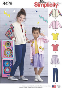Bomber Jacket, Skirt, Leggings and Top for girls. Simplicity 8429.