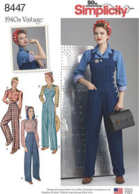 Vintage Pants, Overalls and Blouses. Simplicity 8447.