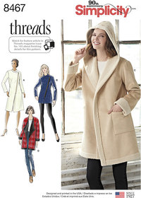 Coat or Jacket with Neckline Variations. Simplicity 8467.