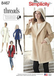 Simplicity 8467. Coat or Jacket with Neckline Variations.