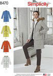 Simplicity 8470. Lined Coat with Collar or Hood and Pocket Variations.