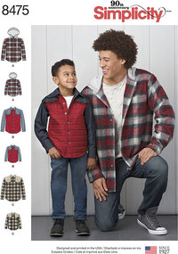 Shirt Jacket for men and boys. Simplicity 8475.