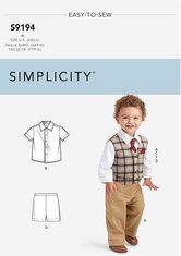 Infants Vest, Shirt, Shorts, Pants, Tie and Pocket Square. Simplicity 9194.