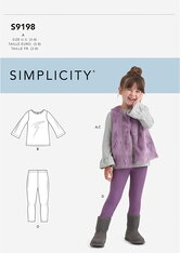 Childrens Tops, Vest and Leggings. Simplicity 9198.