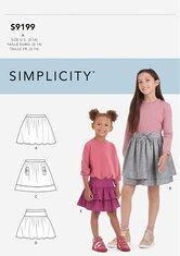 Childrens and Girls Skirts. Simplicity 9199.