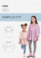 Childrens and Girls Tops. Simplicity 9200.