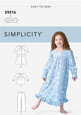 Childrens Robe, Gowns, Top and Pants. Simplicity 9216.