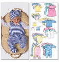 Butterick 5585. Infants Jacket, Dress, Top, Romper, Diaper Cover and Hat.