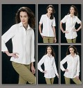 Fitted shirts A, B, C, D, E have princess seams, collar and collar band, front band, front and back yokes, narrow hem, flat-felled seams and button closing. A, B: side slit openings. A, D: short sleeves with stitched hem. B: three-quarter length sleeves with button cuffs. C, E: long sleeves with button cuffs. D, E: patch pockets. E: bias yokes, pockets and cuffs. A, B, C, D cup sizes. NOTIONS: 1/2 inches Buttons: Eight for A, Ten for B, Thirteen for C, E and Nine for D.