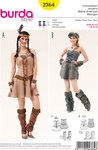 Burda 2364. Native American Girl  Bustier Dress, with laced fastening, fur wrist and leg warmers.