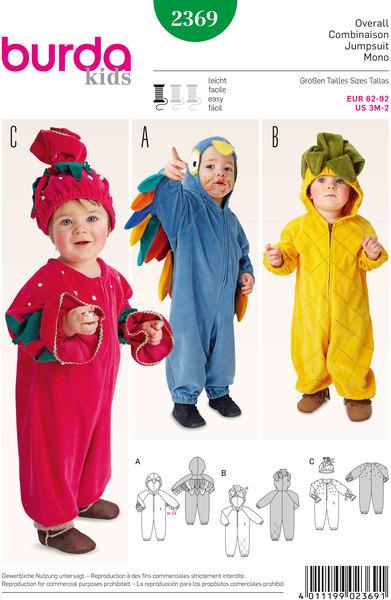 Bird, Pineapple, Strawberry   Overalls, Hood, Hat
