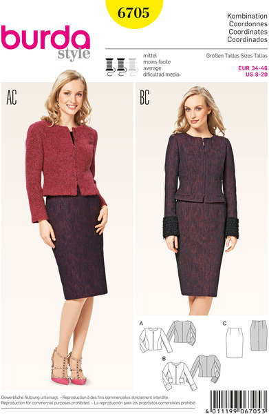 Collarless Jacket, Narrow Skirt, High-Waisted with Vent