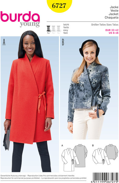 Jacket, Integral Collar, Wrap Form