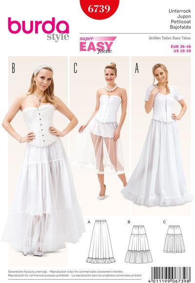Underskirt, Elastic Casing Tiered Skirt, Flounce Skirt