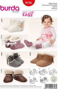 Burda 9396. Baby Booties, Faux Fur Booties.