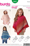 Ponchos are very much in fashion! Worn over tops and pullovers instead of a jacket, they will keep girls warm before the weather turns too cold. Choose between three variations: A with a hood, B with a rib knit neckband, C with a turtle neck. The outer edges can be adorned with trim, strips of fur or with pompons.