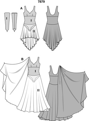 Two dresses for ladies who love to dance. On both, the multi-layered chiffon skirt is sewn directly onto the leotard for maximum freedom of movement. The long dress, view B, has a decorative scarf stitched into the right shoulder seam – to be held while dancing.