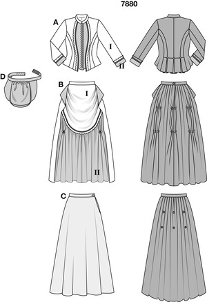 The fitted jacket is sewn from two fabrics with narrow ¾ sleeves and standing collar and has a back pleated peplum. It is authentically embellished with ribbons and lace and with many buttons. The skirt with bustle is made of two sections. The overskirt front is short and pleated. In the back, it is gathered up with the help of hooks and attached to the separate underskirt. A stuffed bustle with waistband gives the skirt the necessary support.