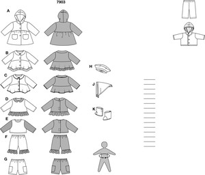 Here are patterns for seven different garments, plus a cap, scarf and boots. Dolly's mama will love mixing and matching all the garments in this wardrobe to create a new outfit every day.