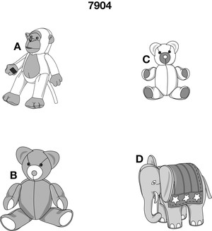 Ape, bear and elephant don't make a complete zoo, but they do offer many opportunities for cuddling and playing. The bear can be made in two sizes. Why not create a whole bear family? Moveable joints make the animals come to life.