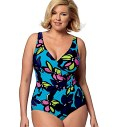 Semi-fitted, cover-up has front draped into buckle. Note: no provisions provided for above waist adjustments. Top or swimdress has princess seams. A, B, C: pullover. Mock wrap swimsuit. B, C, D: built-in bra with elastic. A/B, C, D cup sizes. Narrow hem: A, B, C, E. Elasticized neckline, armholes B, C, D, waist E, F, leg openings D and F, all are close-fitting and cut on crosswise grain of fabric. B, C, D and F: lined.Designed for soft moderate and Two-way stretch knits.