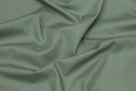 Dusty-green patchwork-cotton with white mini-dots