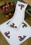 Permin 27-6550. Table runner and decoration in white with Santa.