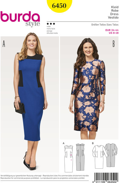 Slim dress with or without sleeves