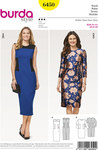Burda 6450. Slim dress with or without sleeves.
