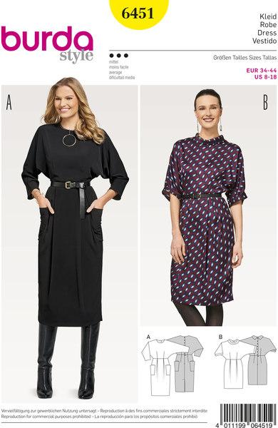 Dress with waist belt and round neck