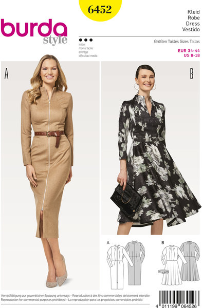 Dress with flare and dresssuit with front zipper