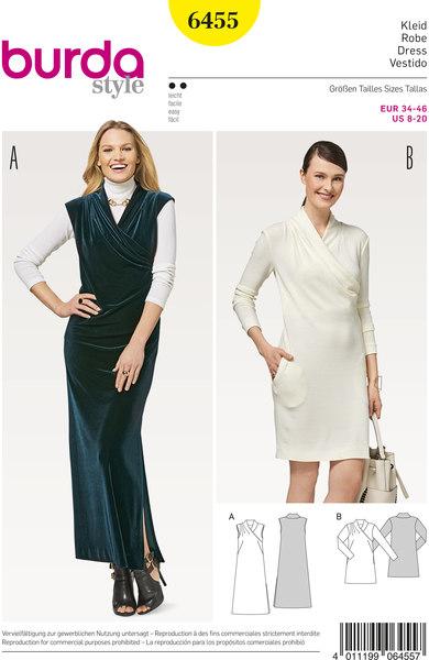 Dress with wrap effect in neckline