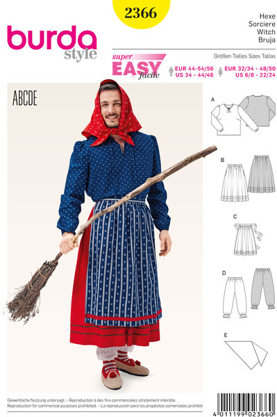 Witch, Partner style Blouse, Skirt, Apron, Bloomers, Scarf