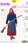 Burda 2366. Witch, Partner style Blouse, Skirt, Apron, Bloomers, Scarf.