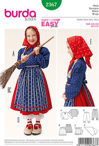Witch Blouse, Skirt, Apron, Bloomers, Scarf. Burda 2367.
