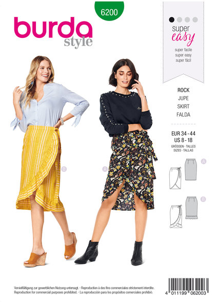 Wrap Skirt with Waistband and Tie Bands
