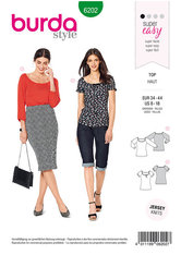 Top with Raglan Sleeves,  Ballet Scoop Neck. Burda 6202.
