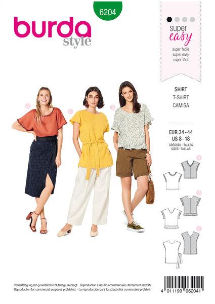 Blouse Shirt, Over-cut Shoulders – V-neck in Front or Back