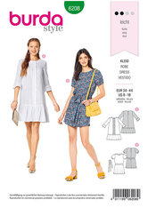 Dress, Casual Fit,  Hem Frills. Burda 6208.