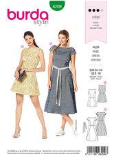 Dress with Flared Skirt,  Scooped Neckline. Burda 6209.